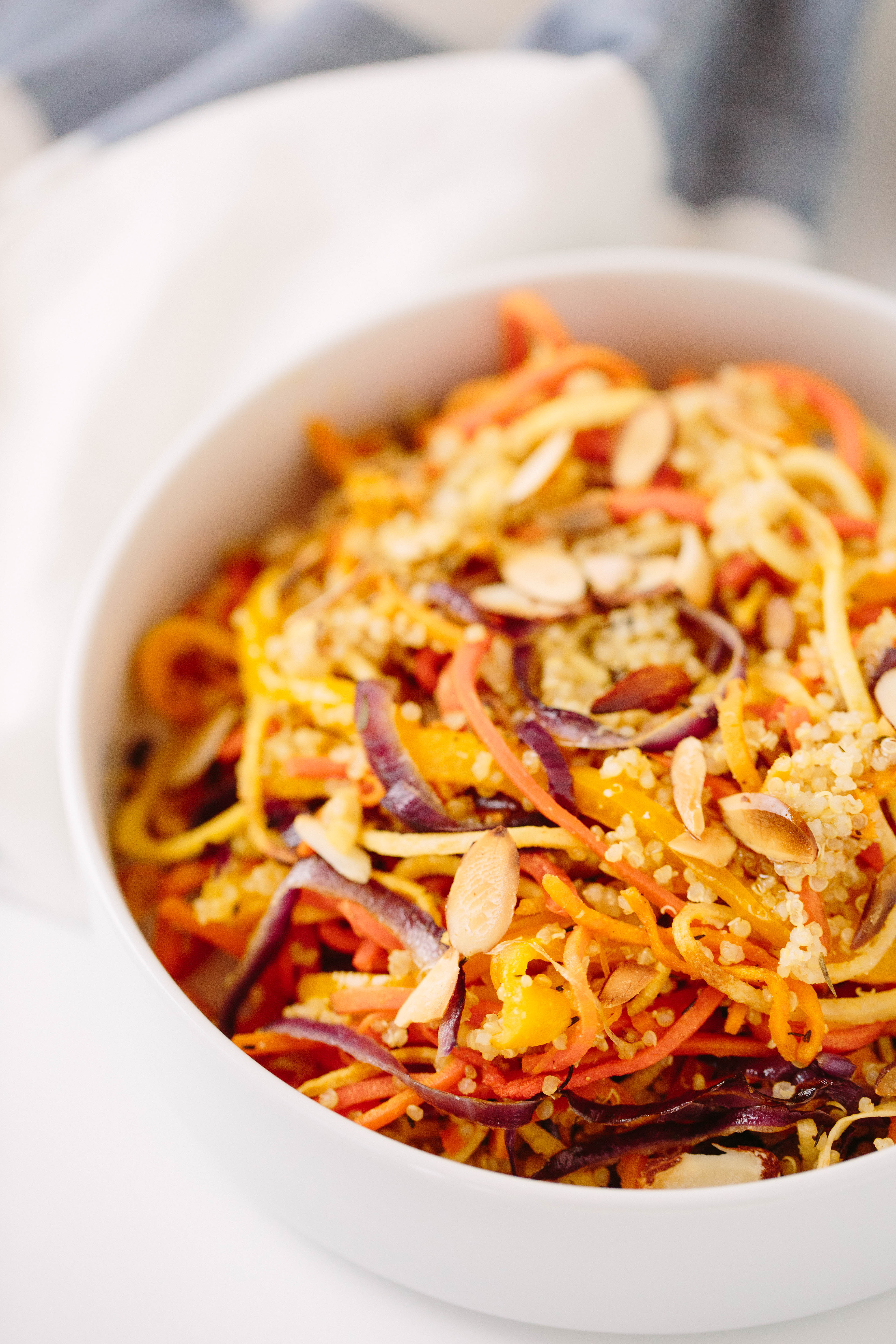 Spiralized Quinoa Vegetable Bown, Quinoa Bowl, Roasted Vegetables, Healthy dinner, healthy lunch